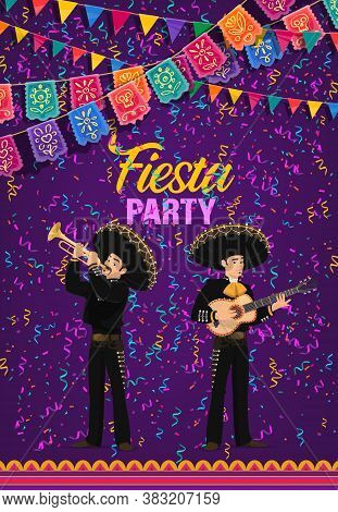 Cinco De Mayo Fiesta Party Vector Poster. Mariachi Band Of Mexican Musicians In Sombrero And Nationa