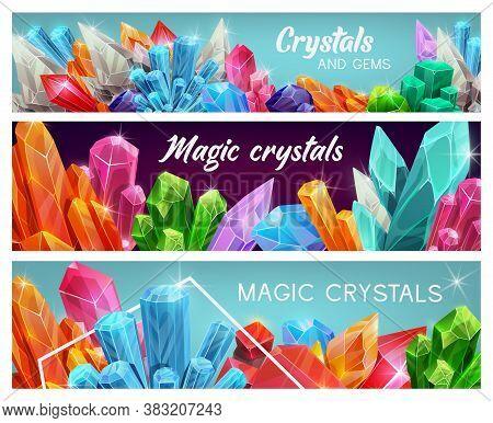 Magic Crystal Gems, Gemstones Cartoon Vector Jewel. Natural Colorful Jewelry And Magic Crystals, Sem