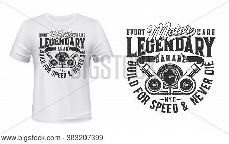 Flaming Car Engine Turbines T-shirt Vector Print. Automobile Combustion Engine Gas Turbine And Speed