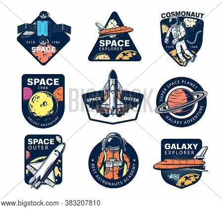 Galaxy Explore Vector Icons. Astronaut, Space Shuttle And Satellites In Outer Space. Universe Expedi