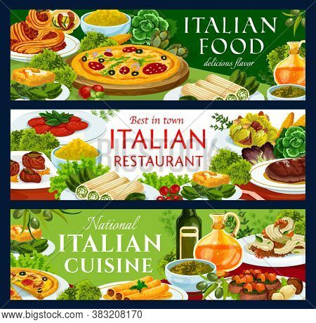 Italian Food Restaurant Vector Banners With Meals. Pizza With Salami, Spaghetti Bolognese And Shrimp