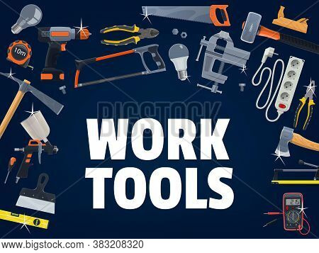 Construction And House Repair Work Tools. Ceramic Tile Cutter, Wood And Metal Cutting Hand Saw, Elec