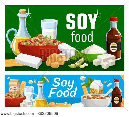 Soy Products And Soya Food Vector Soybeans Vegetarian Or Vegan Soy Sauce, Tofu And Tempeh, Soybean M