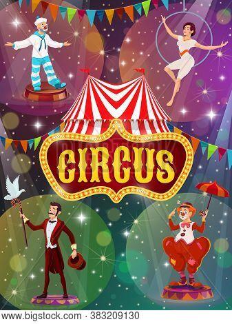 Flyer With Big Top Tent Circus Show Artists, Vector Performers On Big Top Tent Circus Arena. Magic P