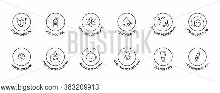 Organic Cosmetic Labels Set. Product Free Allergen Line Icons. Natural Products Badges. Gmo Free Emb