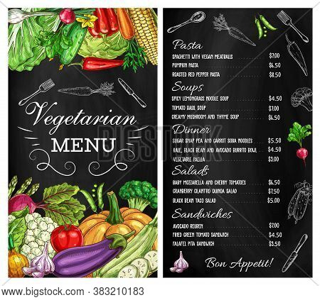 Vegetables Menu Salads, Sketch, Vegetarian Food Restaurant Vector Chalkboard. Vegan Cafe Vegetables