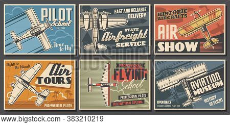 Aircraft Museum, Pilot School, Aviation Vector Posters. Airplane Professional Pilot Flights Show, Vi