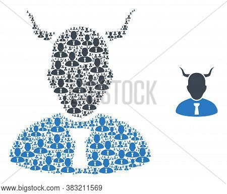Vector Devil Composition Is Designed From Repeating Recursive Devil Icons. Recursive Composition Of