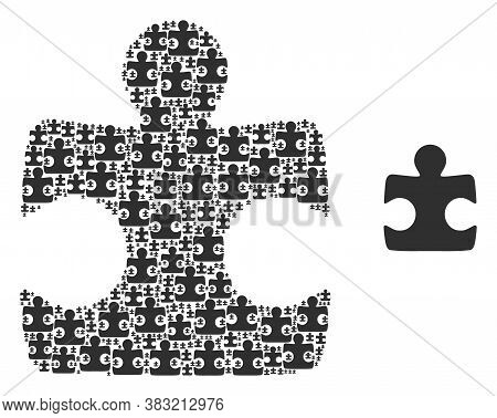 Vector Puzzle Element Collage Is Organized From Random Recursive Puzzle Element Icons. Recursive Col