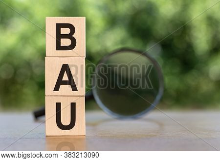 Word Bau - Business As Usual - Acronym Concept From Wooden Cubes On Table With Magnifier On Green Ba