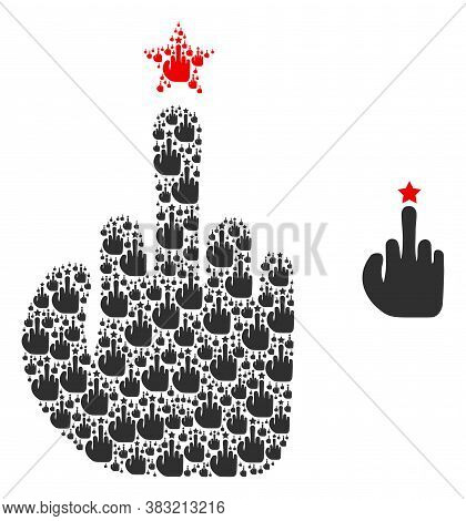 Vector Rude Finger Gesture Mosaic Is Constructed Of Repeating Self Rude Finger Gesture Pictograms. F