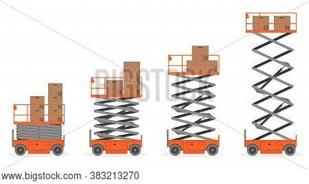 Set Of Scissors Lift Platform With Cardboard Boxes On White Background. Vector Illustration.