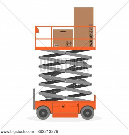 Scissors Lift Platform With Cardboard Boxes On White Background. Vector Illustration.