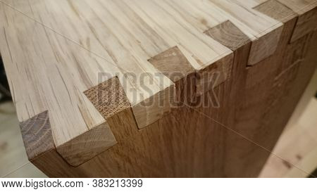 Dovetail Joinery On Oak Wood. Dark And Light Wood
