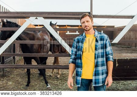 Rancher In Plaid Shirt Standing Near Corral With Horses And Looking At Camera