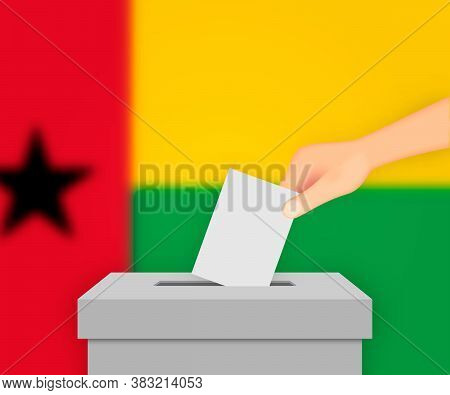 Guinea-bissau Election Banner Background. Ballot Box With Blurre Template For Your Design