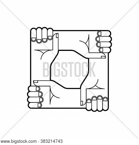 Hands Holding Each Other. Sign In Team Work Or Support Each Other