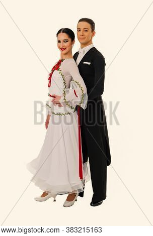 Couple In Love.ballroom Dance Couple In A Dance Pose Isolated On White Background. Ballroom Sensual