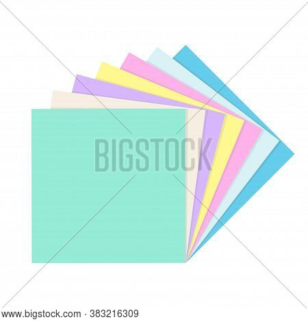 Stack Of Colored Empty Square Paper Notes. School And Office Supplies Collection. Flat Vector Illust