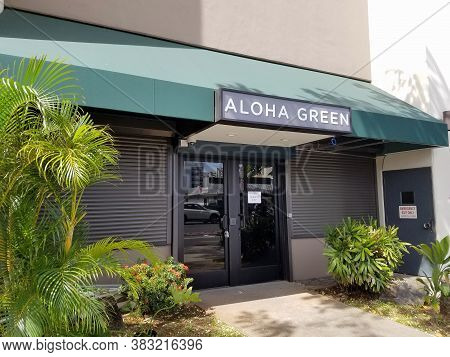 Honolulu - August 7, 2017: Aloha Green Apothecary Store, Which Is  Is A Licensed Medical Cannabis Di