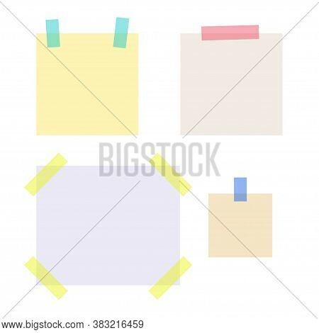 Empty Note Papers Stuck With Colored Sticky Tape Strips. School And Office Supplies Collection. Flat