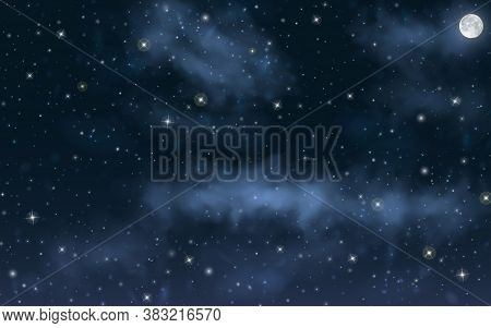Big High Resolution Night Sky With Stars, Moon, Milky Way, Nebula On It. Deep Space Universe Backgro