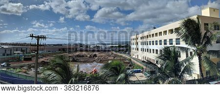 Honolulu - September 23, 2018: Panoramic Of Construction Site Foundation Work At Dole Cannery.