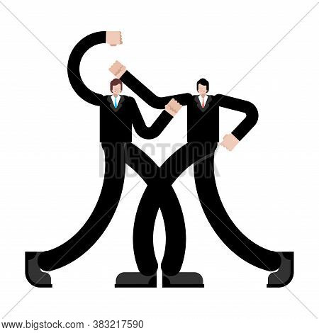 Fight Of Businessmen. Business Confrontation. Fight Of Competitors