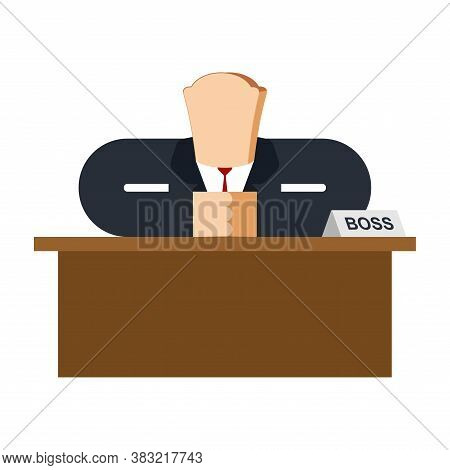 Boss Bread. Businessman Soft Tack. Concept Of Fool And And Simpleton. Vector Illustration