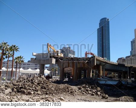 San Francisco -  August 17, 2010: Highway Bridge Of The Transbay Terminal Torn Down By Demolition Ma