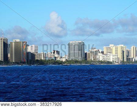 Honolulu -  July 6, 2019: Ocean View Of Iconic Trump International Hotel Waikiki, Hilton Hawaiian Vi