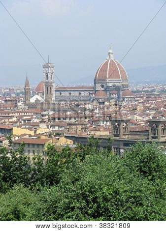 View of the Renaissance Duomo from Piazzale Michelangelo in the city of Firenze (Florence) Italy poster
