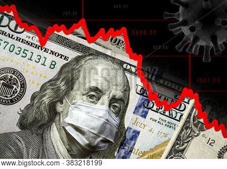 Covid-19 Impacts To Business, Dollar Money And Graph Of Stock Market Crash During Coronavirus Pandem