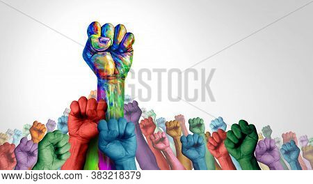 Social Justice Society As A Crowd Of Protesters And Angry Protest Group Or Protester Unity And Fight