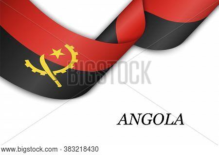 Waving Ribbon Or Banner With Flag Of Angola.
