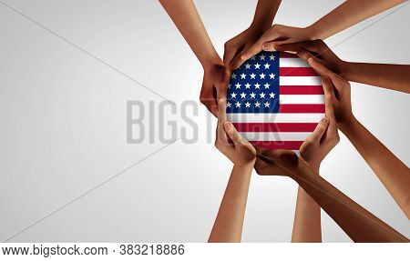 American Unity And Diversity Partnership As Hands In A Group Of Diverse People Connected Together Sh