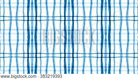 Plaid Fabric. Blue Indigo Picnic Texture. Seamless Celtic Kilt. Fashion Buffalo Flannel. Trendy Plai