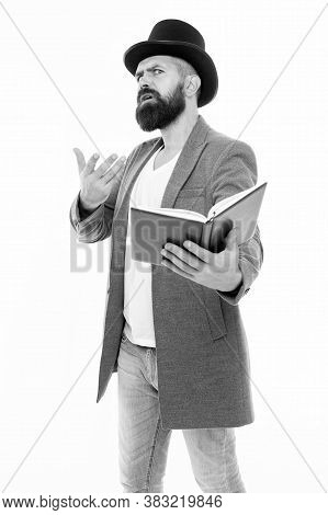 Born To Teach. Teacher Isolated On White. School Teacher Read Book. Teacher Of Literature. School An