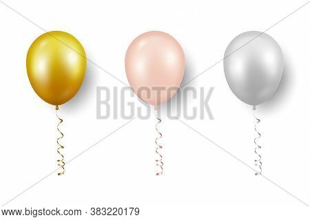 Vector 3d Realistic Metallic Golden, Pink, White Balloon With Ribbon Set Closeup Isolated On White B