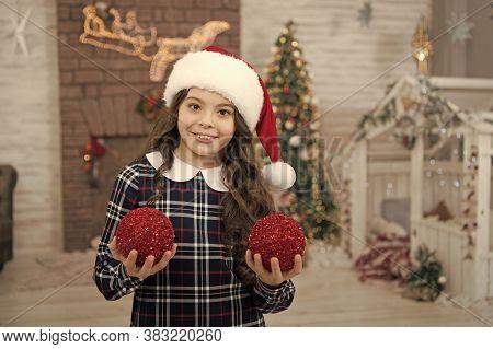 Decor Shop. Pick Decorations Home. Child Decorating Christmas Tree Balls. Girl Kid Decorating Christ