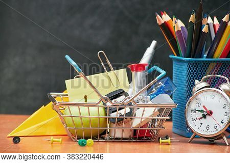 Back To School Concept, Basket With Stationery On School Board Background, University, College, Copy