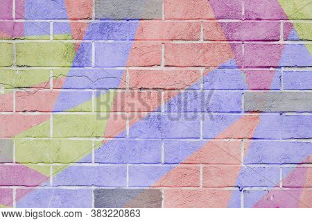 Cracked And Scratched Wall With Graffiti. Abstract Detail Of Urban Street Art Design Close-up, Paste