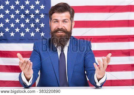 Man American Presenter Anchorman In Studio, Public Speech Concept.