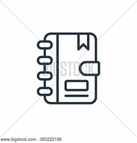 notebook icon isolated on white background from news and journal collection. notebook icon trendy an