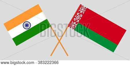 Crossed Flags Of Belarus And India. Official Colors. Correct Proportion. Vector Illustration