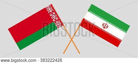 Crossed Flags Of Belarus And Iran. Official Colors. Correct Proportion. Vector Illustration