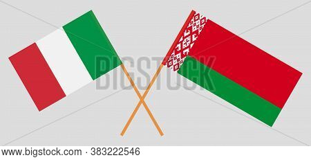 Crossed Flags Of Belarus And Italy. Official Colors. Correct Proportion. Vector Illustration