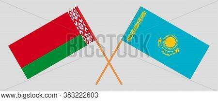 Crossed Flags Of Belarus And Kazakhstan. Official Colors. Correct Proportion. Vector Illustration