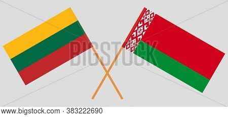 Crossed Flags Of Belarus And Lithuania. Official Colors. Correct Proportion. Vector Illustration