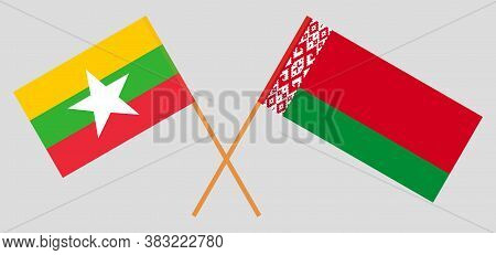 Crossed Flags Of Belarus And Myanmar. Official Colors. Correct Proportion. Vector Illustration